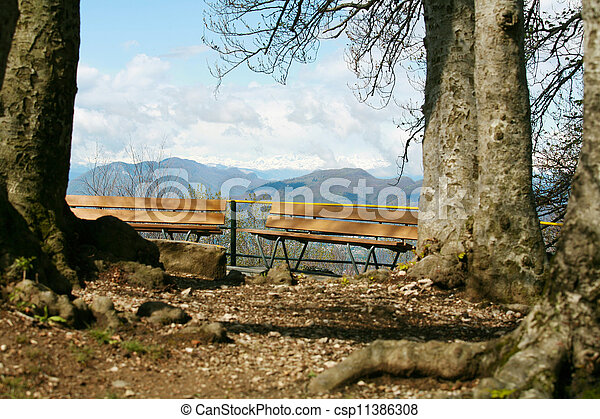 peaceful view from the top of mountain in Switzerland - csp11386308