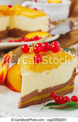 peach cake with cream - csp23582201