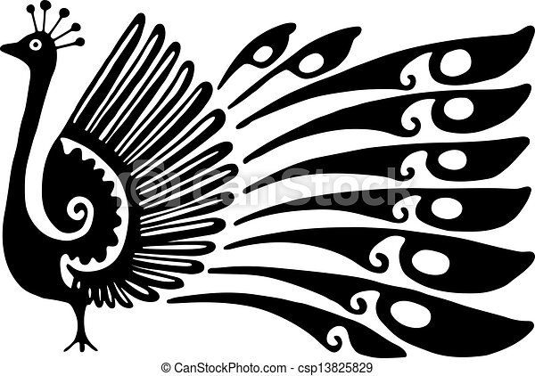 Clip Art of Peacock Design - Simple black and white line drawing ...