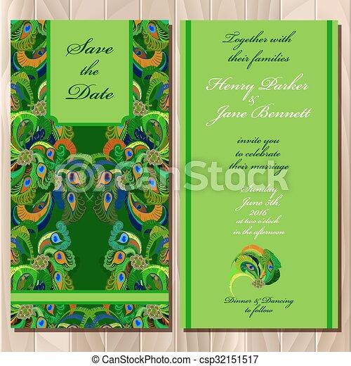 Peacock Feathers Wedding Invitation Card Printable Vector Illustration