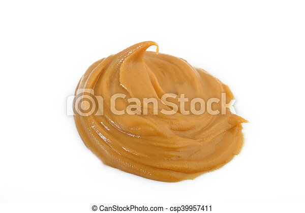 peanut butter on white background - csp39957411