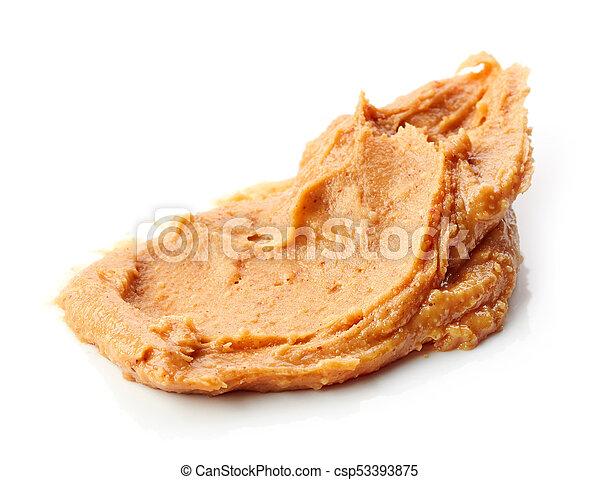 peanut butter on white background - csp53393875