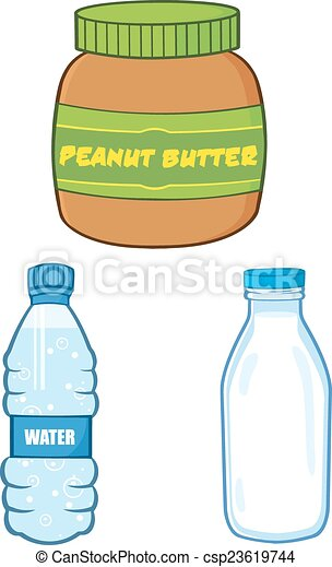 Peanut Butter,Water and Milk Bottle - csp23619744