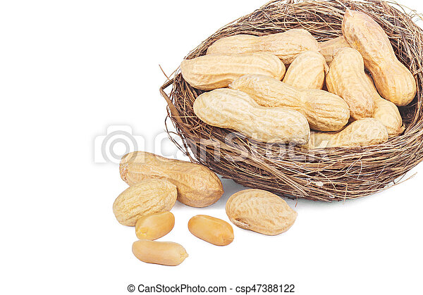 Peanuts in a basket isolated on white background - csp47388122