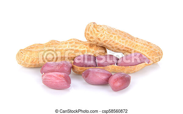 peanuts in closeup on white background - csp58560872