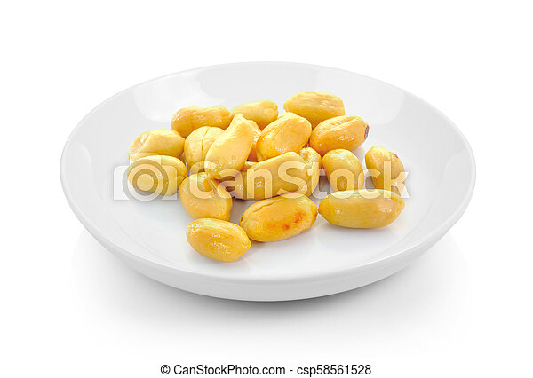 peanuts in plate on white background - csp58561528