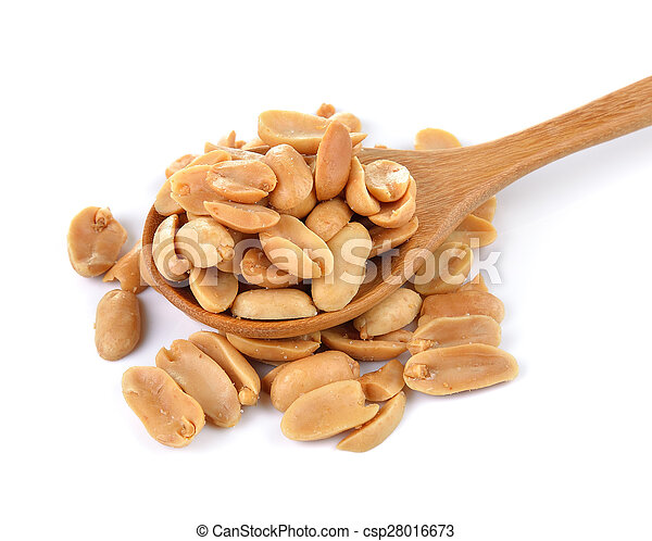 peanuts in spoon on white background - csp28016673