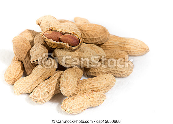 Peanuts isolated on white background - csp15850668