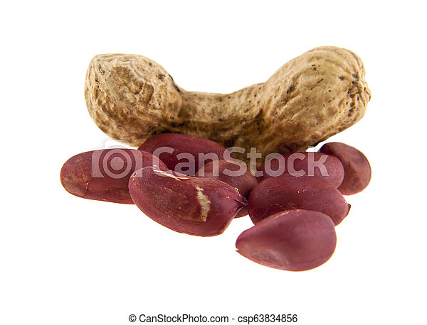 peanuts isolated on white background - csp63834856