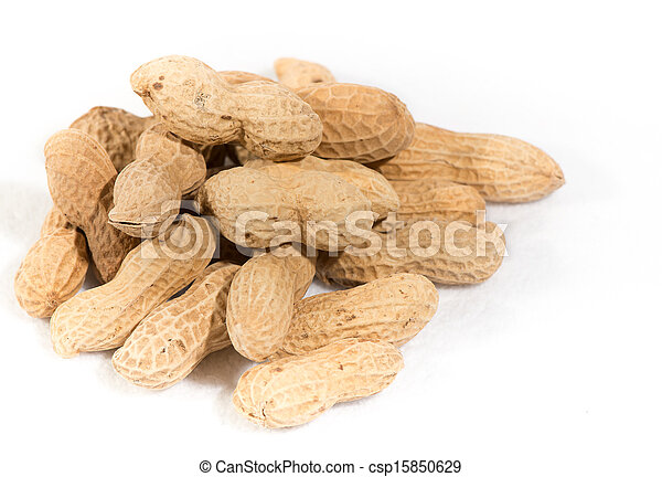 Peanuts isolated on white background - csp15850629