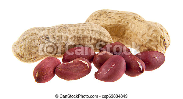 peanuts isolated on white background - csp63834843