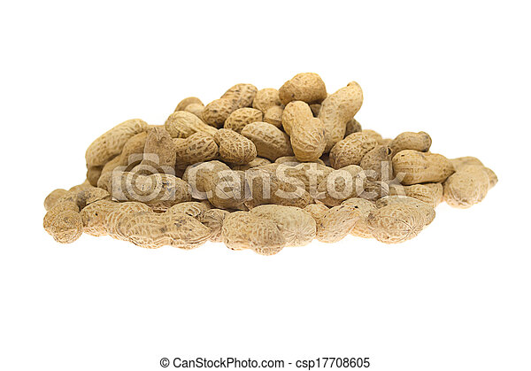 peanuts isolated on white background - csp17708605