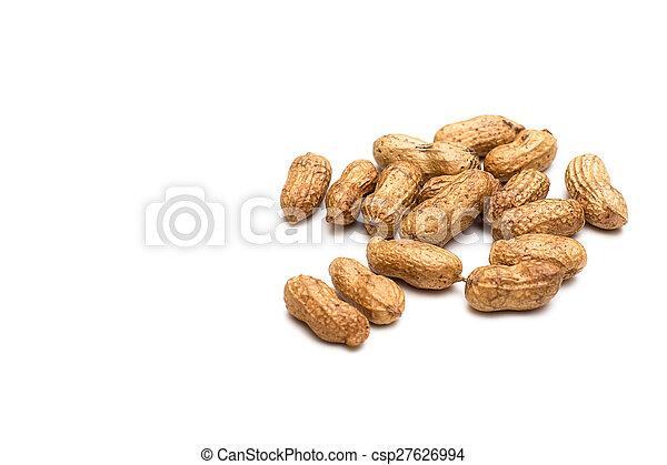 peanuts on white background - csp27626994