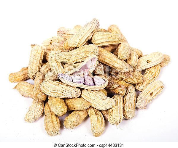 Peanuts on white background - csp14483131