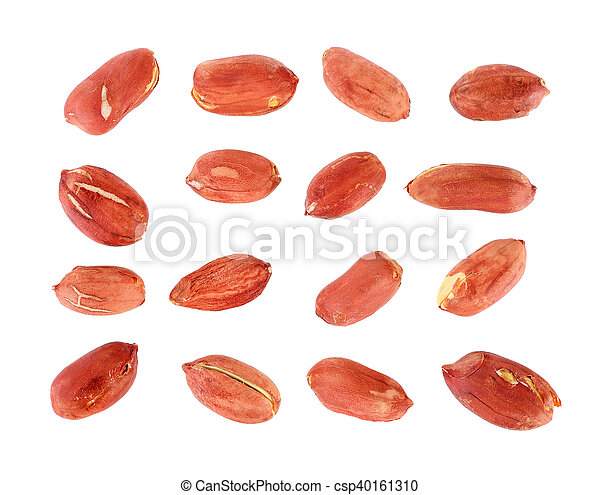 peanuts seeds isolated on white background - csp40161310