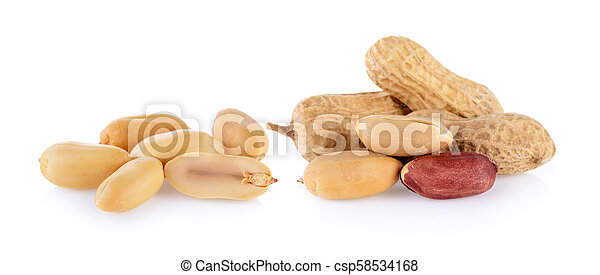 peanuts seeds isolated on white background - csp58534168