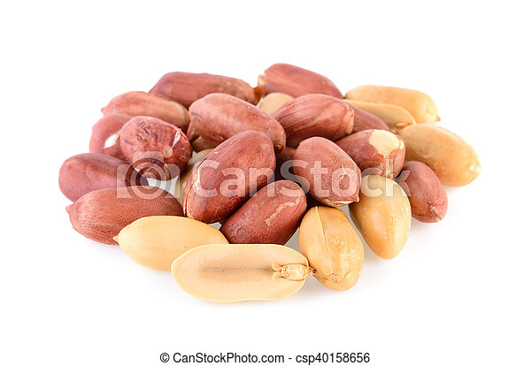 peanuts seeds isolated on white background - csp40158656