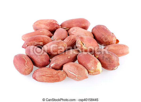 peanuts seeds isolated on white background - csp40158445
