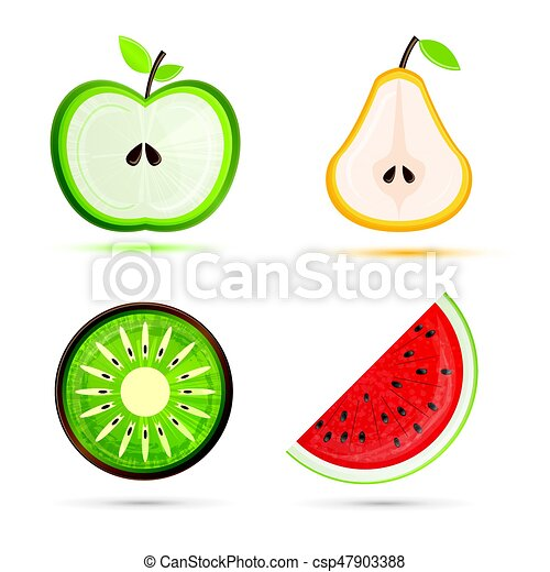 fruit set pear apple watermelon kiwi vector vector search rh canstockphoto com kiwi fruit clipart black and white kiwi clipart free