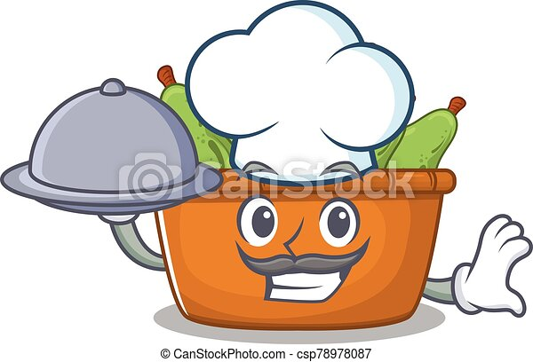 Pear fruit box as a chef cartoon character with food on tray - csp78978087