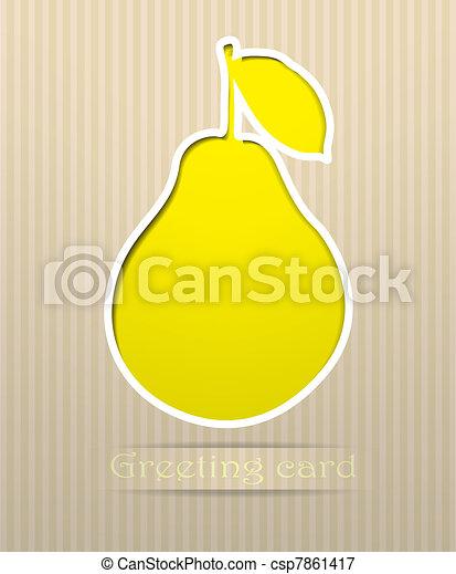 Pear postcard vector illustration - csp7861417