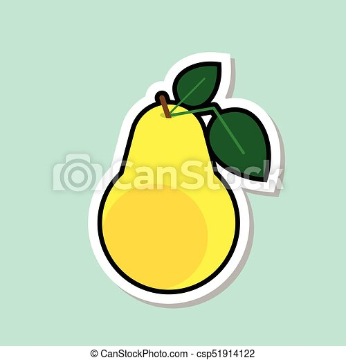 Pear sticker on blue background colorful fruit icon csp51914122