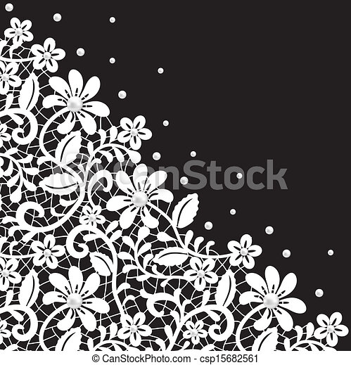 Pearl And Lace Border On Black Background Clip Art Vector