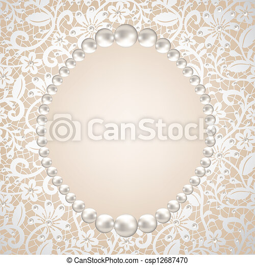 pearl frame and lace background