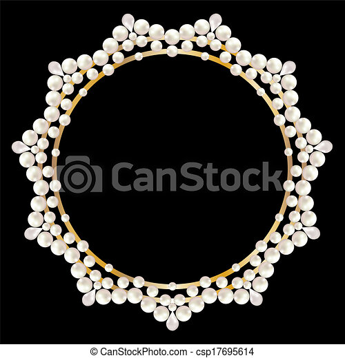 greeting or invitation card with pearl frame