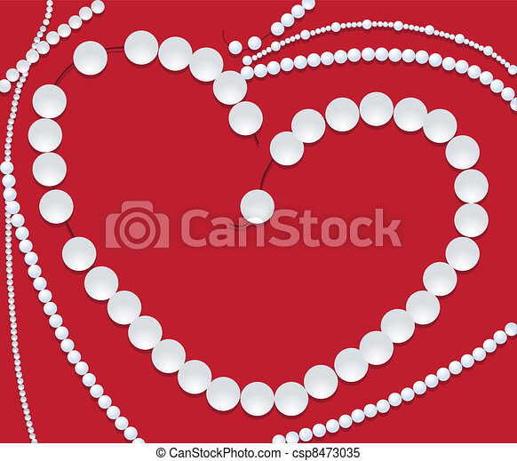 48aa8ddf7274c Pearl necklace of heart shape