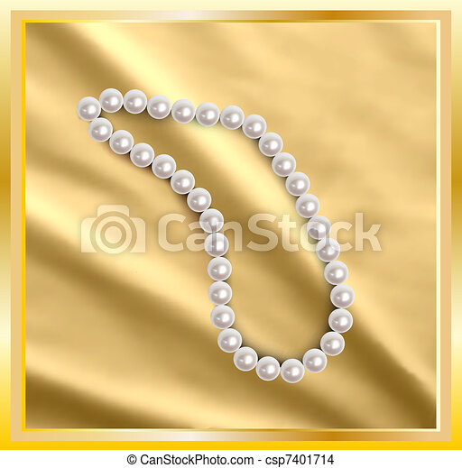 Pearls a necklace on a silk gold fabric. Vector - csp7401714