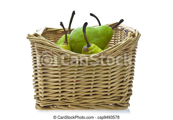 Pears In A Basket On White Background - csp9493578