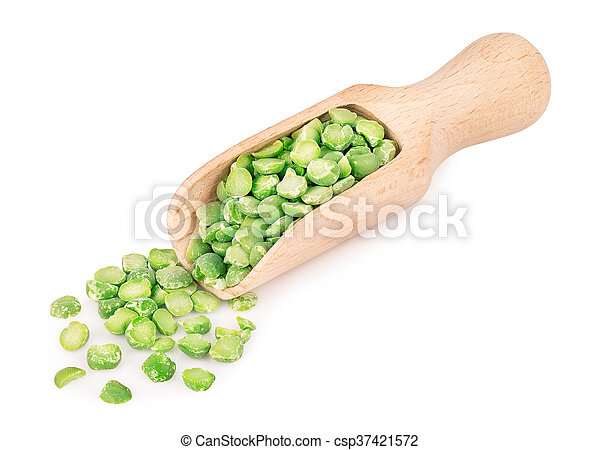 peas in scoop isolated on white background - csp37421572