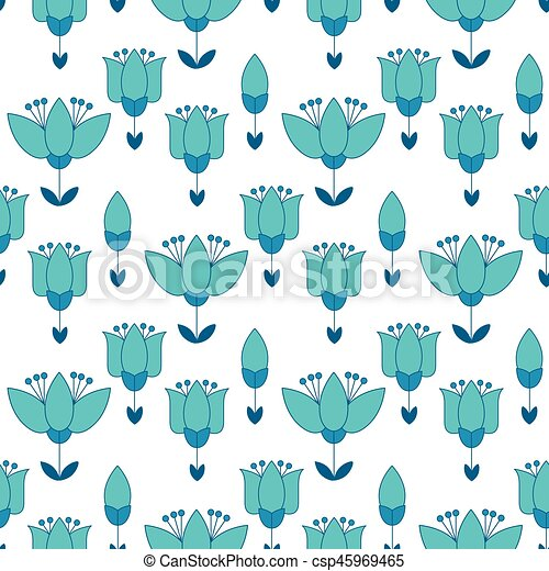 peasant style simple floral pattern on blue color  naive traditional  nostalgic flower seamless pattern vector illustration for fabric,  background,