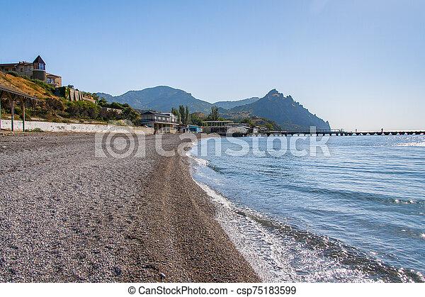 Pebble beach on the Black Sea coast - csp75183599
