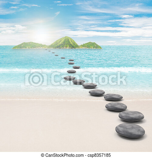 Pebble road to island - csp8357185