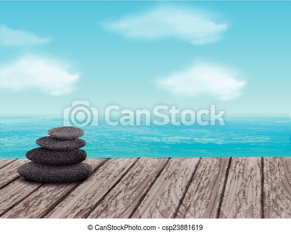 pebbles stack over sea - csp23881619
