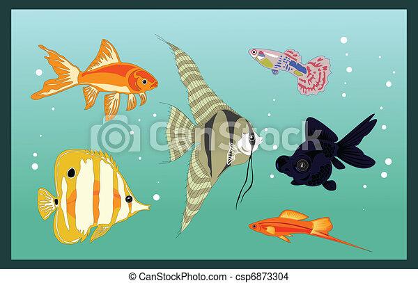 Grficos vectoriales EPS de peces acuario  ilustracin conjunto