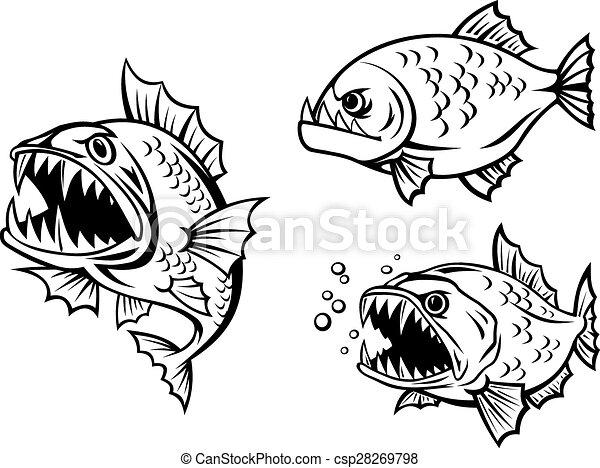 Peces, agudo, enojado, piraña, dientes. Submarino, fauna, peligroso ...