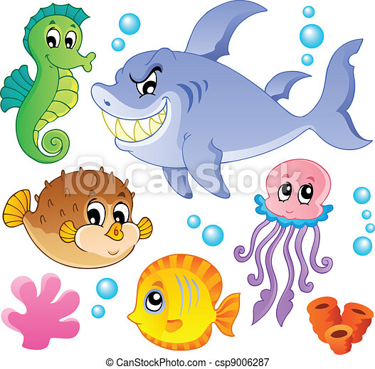 peces, animales, 4, colección, mar - csp9006287