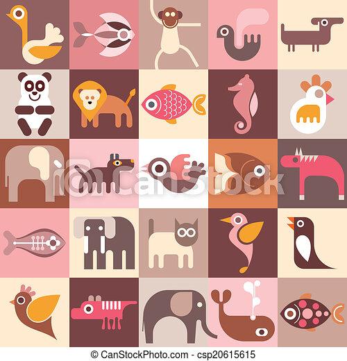 Animales, peces y pájaros - csp20615615