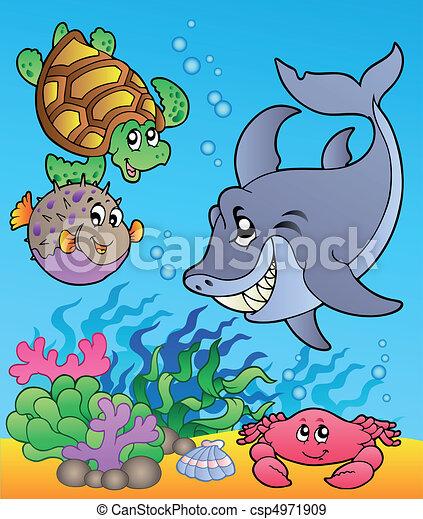 Animales submarinas y peces 1 - csp4971909