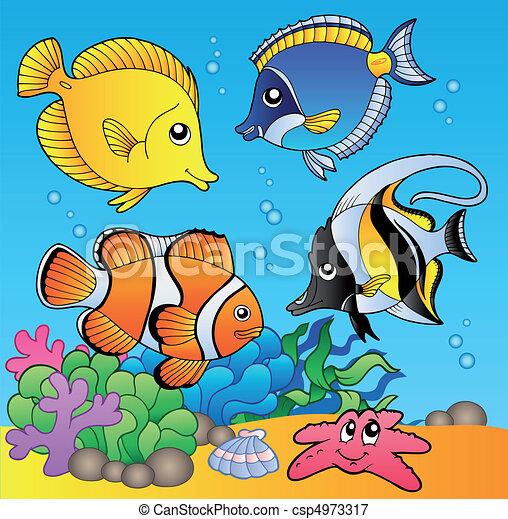 peces, submarino, 2, animales - csp4973317