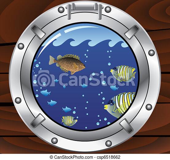 Vector de babor y peces tropicales coloridos - csp6518662