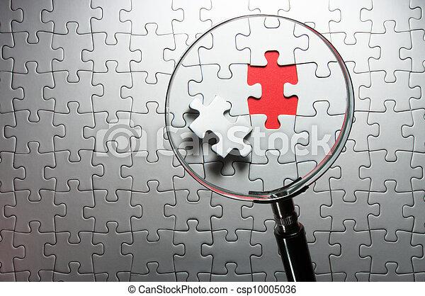 pedaços, magnificar, ausente, quebra-cabeça, copo., busca - csp10005036