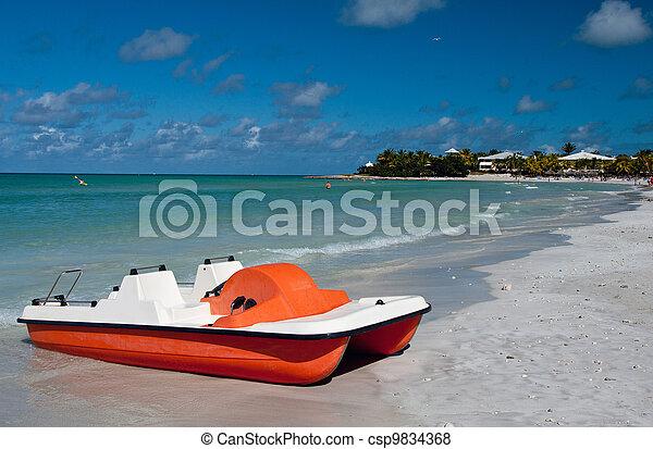 pedaal, strand, scheepje, tropische  - csp9834368