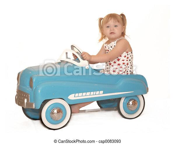 pedaal, weinig; niet zo(veel), 3995, meisje, auto - csp0083093
