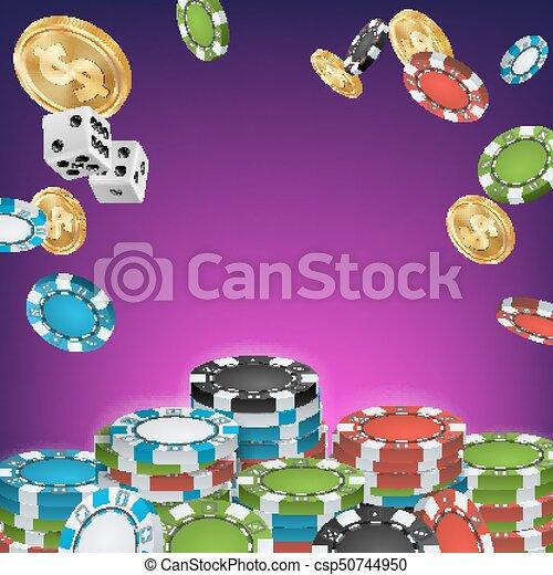 Vector de estandarte del casino. Señal de apuestas en línea. Chips brillantes, monedas de dólar. Cartel de casino Jackpot, firmas, ilustraciones de carteles de lujo de marketing. - csp50744950