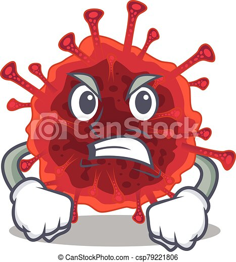 Pedacovirus cartoon character design with angry face - csp79221806