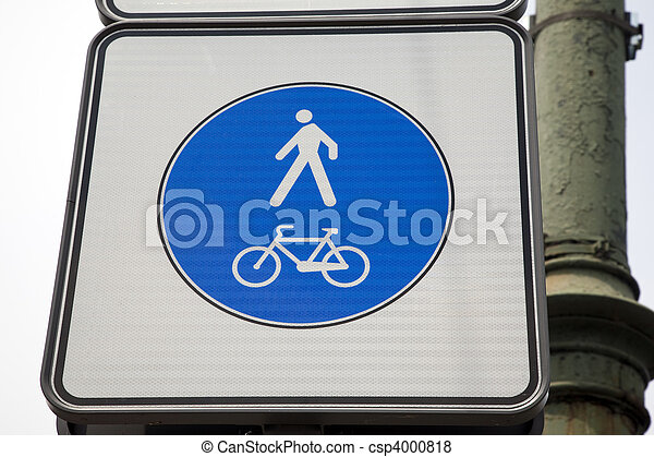 Pedestrian and bicycle sign in urban setting - csp4000818